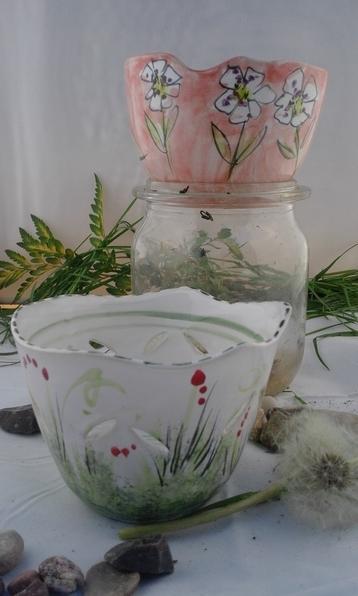 Müslischale roasa mit Blumen 15€ Windlicht 18€